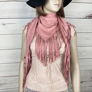 Boho Rose Blush Color Suede Fringe Triangle Scarf
